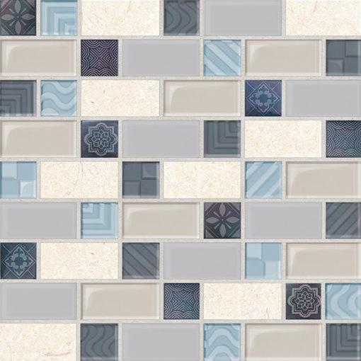 paredes mosaico retro azul